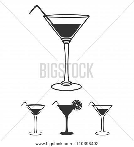 Martini glasses flat icons set isolated on white