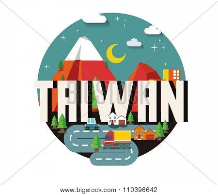 Taiwan in Asia is a beautiful country to visit. vintage vector illustration.