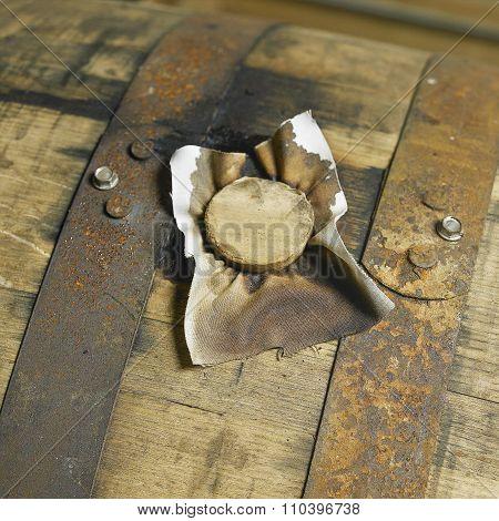 Whiskey Barrell In Distillery
