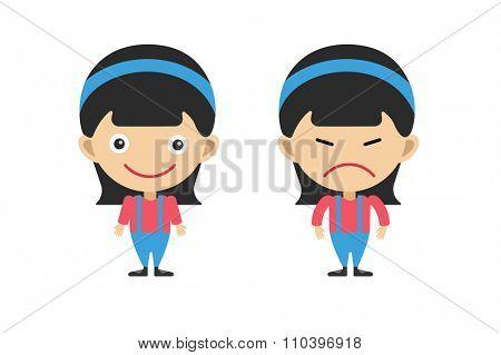 Cartoon girls sisters emotions. Kid girls isolated. Small kids. Kids background. Children people. Kids, teens, smile face, kids people silhouette. Kids pose