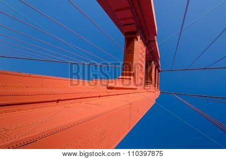 Close-up of the Golden Gate Bridge in San Francisco