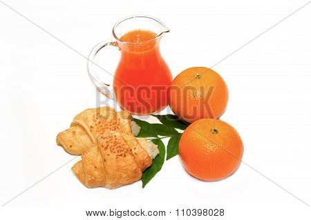 Continental Breakfast With Croissant,orange And Orange Juice