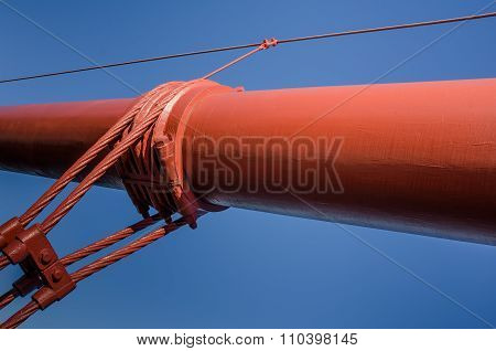 Close-up of one of the massive cables holding up the roadway of the Golden Gate