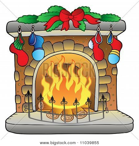 Christmas Cartoon Fireplace