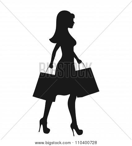 Black Icon Shopping Woman Silhouette with Bags Isolated on White