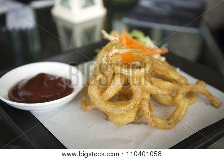 Plate Of Deep Fried Onion Rings