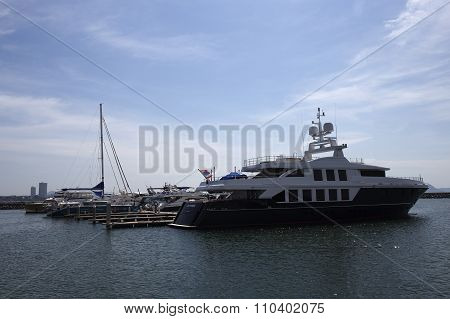 The Yacht Anchored At Harbo