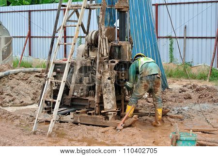 Bore rig at the construction site in Malaysia