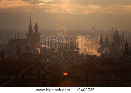 Czech Republic, Prague, oldtown roofs during twilight