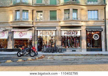 GENEVA, SWITZERLAND - NOVEMBER 18, 2015: dtreets of Geneva. Geneva is  the second most populous city in Switzerland and is the most populous city of Romandy, the French-speaking part of Switzerland