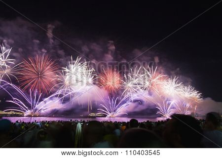 Great Fireworks At Copacabana Beach