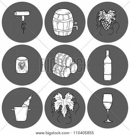 Wine hand drawn icons