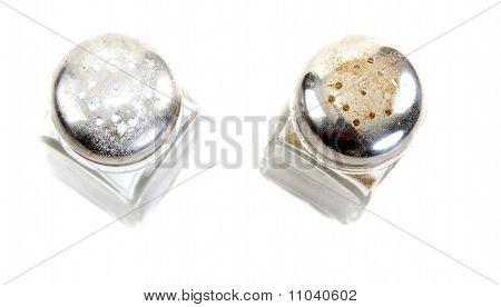 Glass Saltcellar And Pepper Shaker