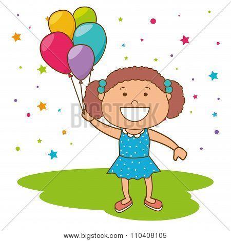 Kids birthday celebration cartoon