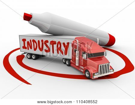 Industry word on truck trailer to illustrate manufacturing, logictics, transportation or delivery business or company