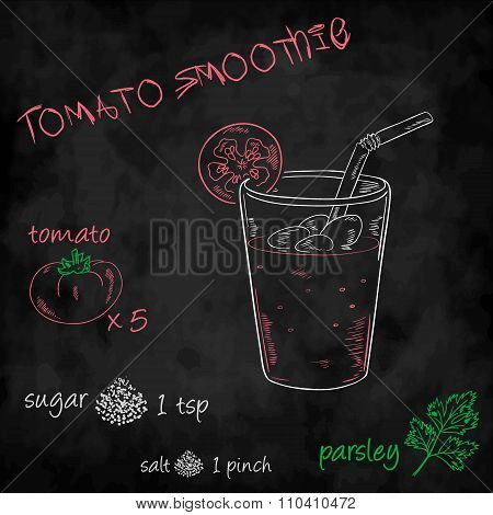 Vector Vegetables Smoothie With Ingredients List. Tomato, Sugar, Salt And Parsley