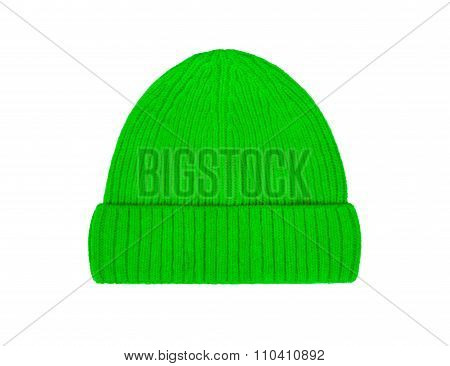 Green Wool Hat Isolated On White Background