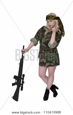 Woman Soldier Flirting