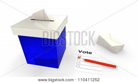 Blue Ballot Box With Envelope