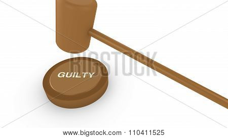 Court Hammer Smashing On Guilty Sign