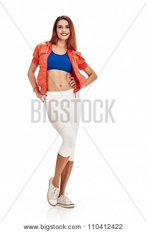 Happy young woman with slim body