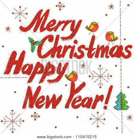 Merry Christmas and Happy New Year text. hand drawn text. watercolor Christmas and New Year backgrou
