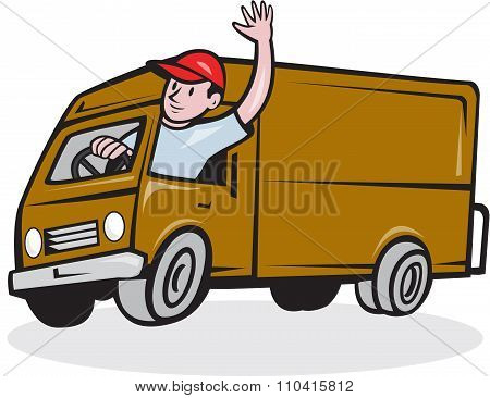Delivery Man Waving Driving Van Cartoon