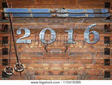 2016 Letters Retro Ski On Wooden Board