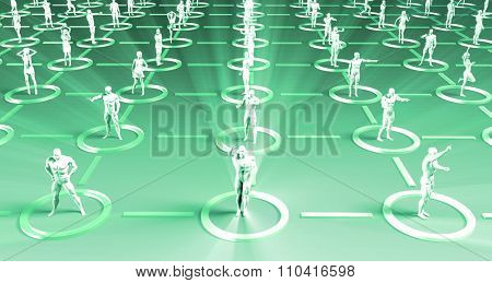 Crowd of 3D Figures Linked by Lines and Technology