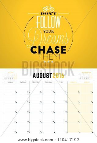 August 2016. Wall Calendar Planner For 2016 Year. Week Starts Monday. Vector Design Print Template W