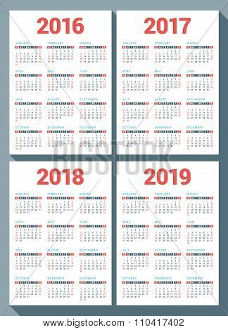 Set Of Calendars For 2016, 2017, 2018, 2019 Years On White Background. Week Starts Sunday. Vector De