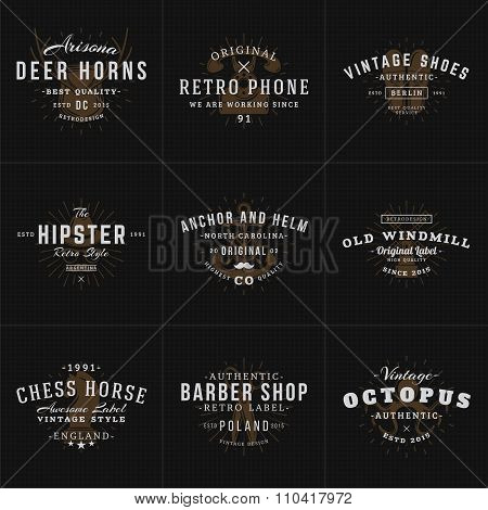Set Of Hipster Vintage Labels, Logotypes, Badges For Your Business. Horns, Retro Phone, Shoes, Ancho