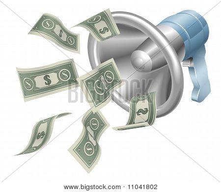 Megáfono de dinero