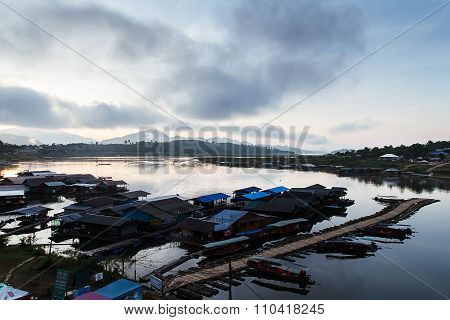 The lake at morning fog in Sangkhla Buri, Thailand