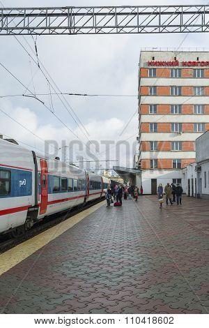 NIZHNY NOVGOROD, RUSSIA -05.11.2015. High-speed train Strizh at  railway station
