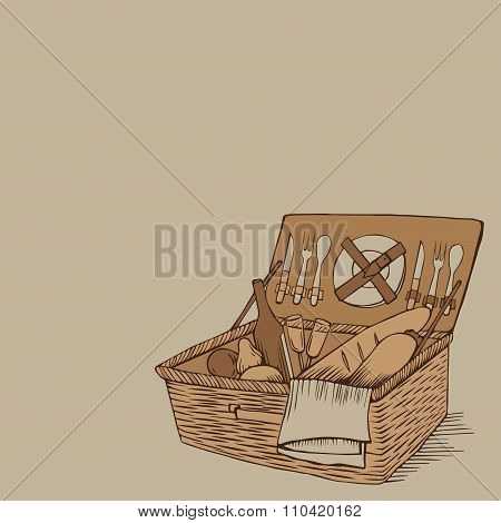 Doodle Vintage Picnic Basket With Food And Drinks