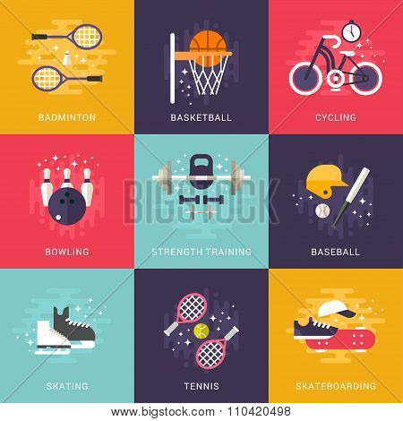 Set Of Concept Flat Style Vector Indoor And Outdoor Sport Illustrations. Badminton, Basketball, Cycl