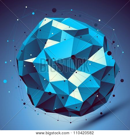 Blue 3D Modern Perspective Abstract Background, Origami Facet Spherical Structure With Wire Network.