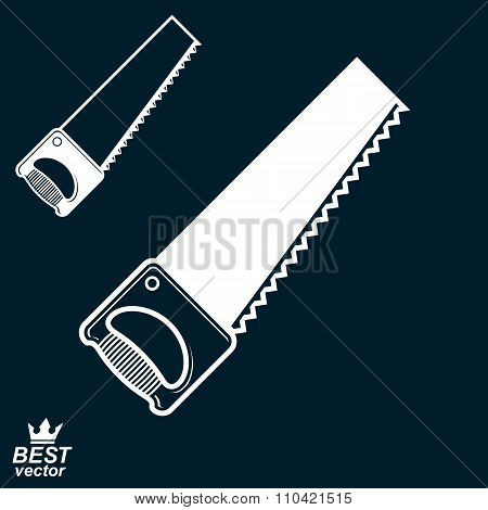 Stylized Metal Saw With Sharp Teeth, Clear Eps8 Vector Illustration. Realistic Razor-sharp Hacksaw.