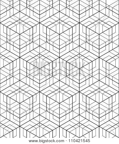 Futuristic Continuous Black And White Pattern, Illusive Motif Abstract Background With Geometric Fig