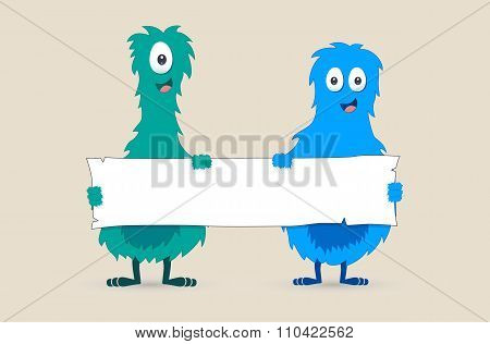 Cute monsters holding a blank sign - Vector illustration