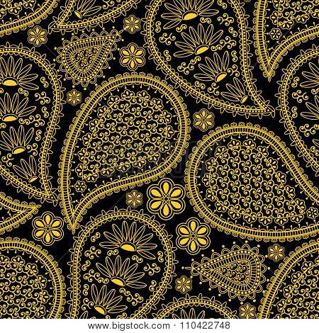 Seamless pattern in Indian style.  Ethnic ornament with flowers and paisleys. Golden (yellow) elemen