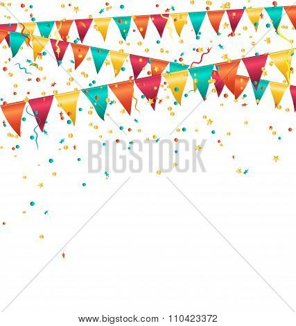 Multicolored bright buntings garlands with confetti isolated on