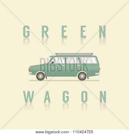 Side View Of Green Wagon.