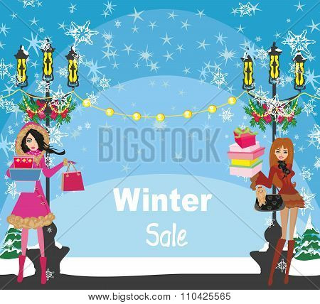 Beautiful Girls On Winter Shopping - Card