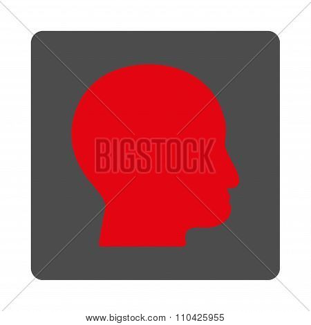 Bald Head Rounded Square Button
