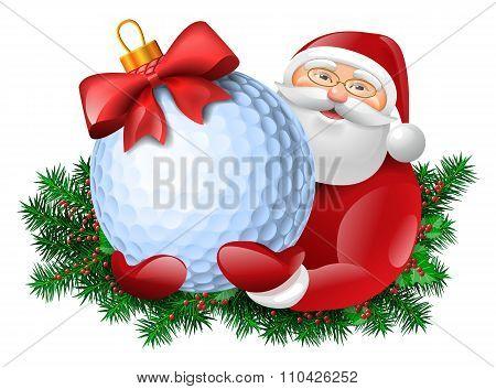 Santa With Golf Ball