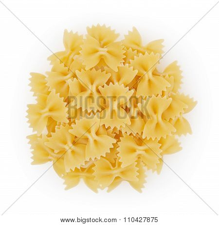 Bow Tie Pasta Isolated On White Bacground With Clipping Path