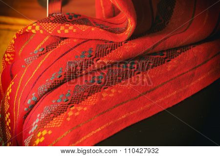 Indigenous Ethnic Red Fabric