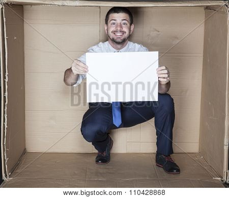 Happy Businessman Holds His Cv